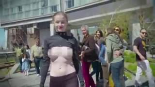 Topless model, 23 walks through New York baring her breasts in campaign to free the nipple