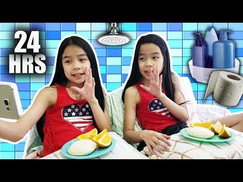 24 HOUR CHALLENGE OVERNIGHT IN MY BATHROOM!