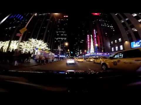 Driving BQE at night Brooklyn Bridge FDR Rockefeller Center Christmas Tree Manhattan