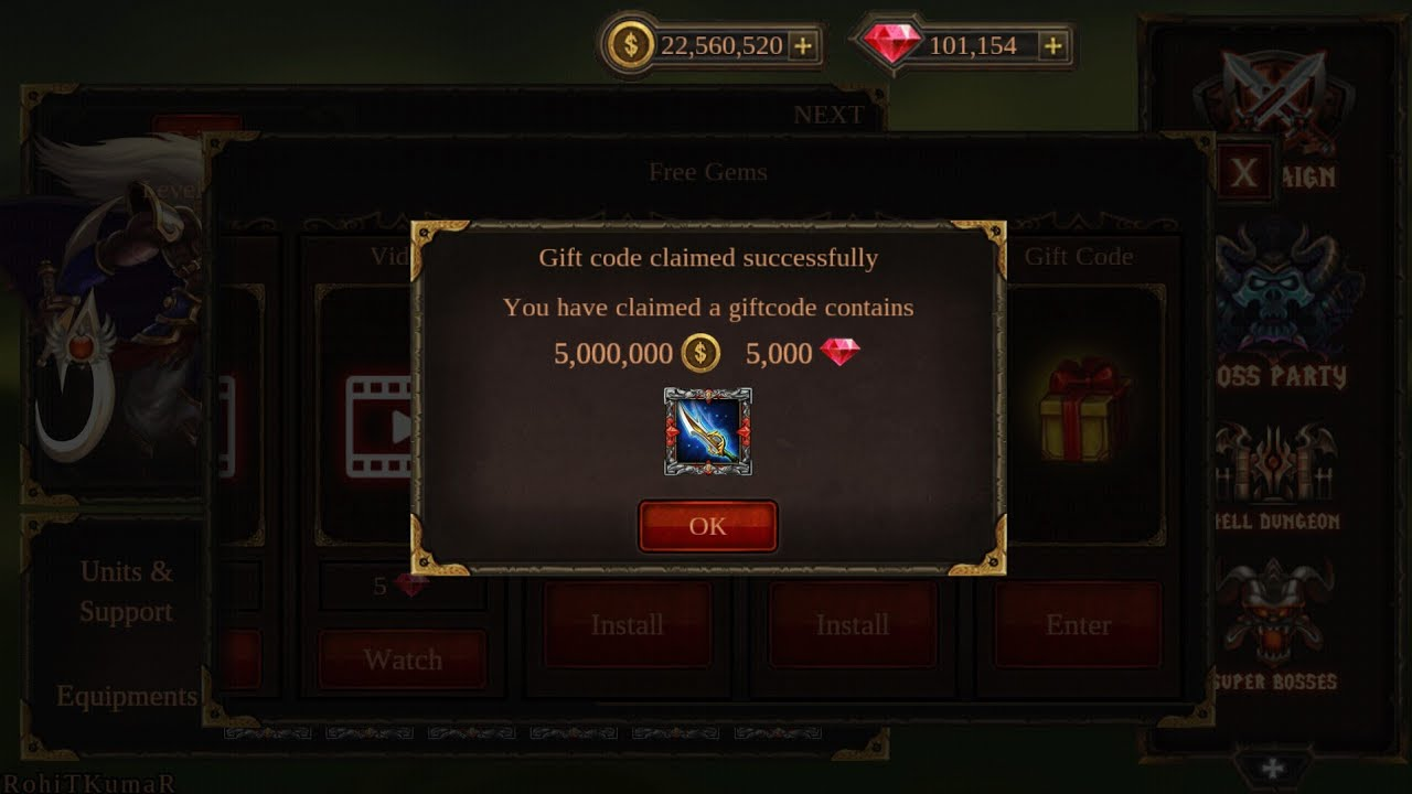Epic Heroes War New Gift Code 2 Youtube