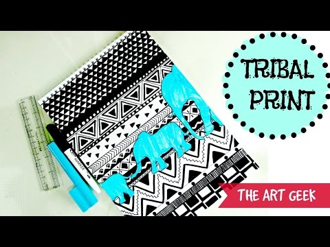 TRIBAL PRINT PATTERN  (black & white)-Time lapse