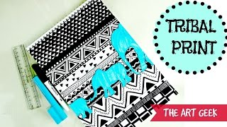 TRIBAL PRINT PATTERN  (black & white)-Time lapse