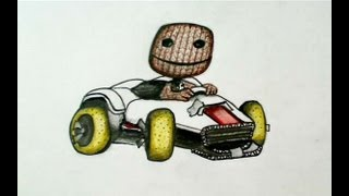 How to draw Sackboy with Kart (Little Big Planet Karting)