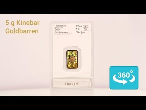 5 Gramm Kinebar: Goldbarren mit Hologramm in 360° Ansicht