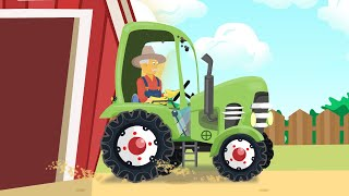 A new Green #Tractor for FARMERS - collecting straw | fairy tales for Babies and Kids - Traktory