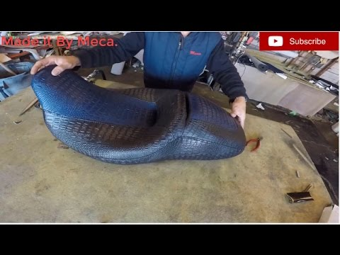 Reupholster A Motorcycle Seat With Crocodile Vinyl YouTube - Vinyl for motorcycle seat