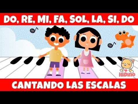 🎵 Cantando Las Escalas 🎵 Do, Re, Mi, Fa, Sol, La, Si, Do   HiDino Canciones Para Niños