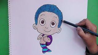 Dibujando y coloreando a Goby (Bubble Guppies) - Drawing and coloring Goby