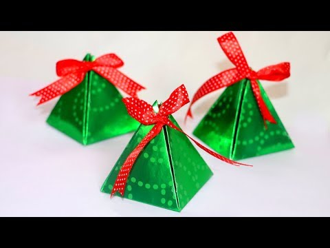 DIY Christmas Gift Box | Easy Paper Pyramid Gift Box | Paper Crafts | Christmas Crafts