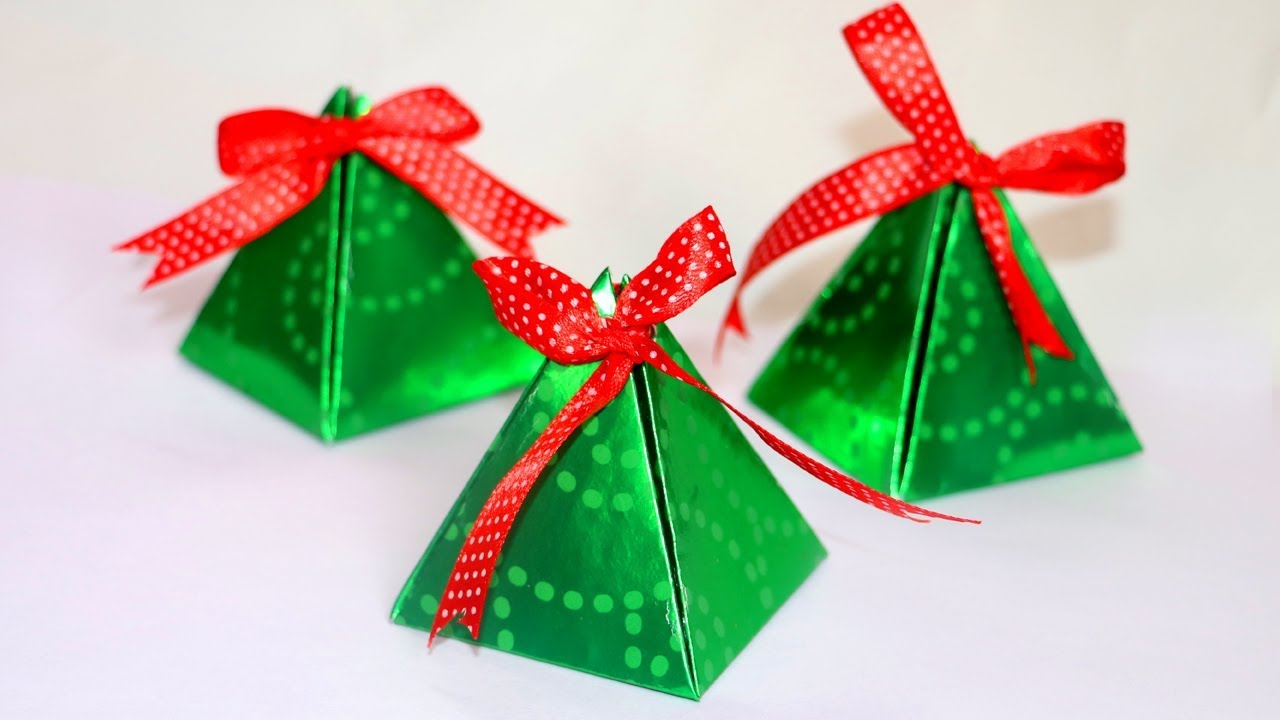 diy christmas gift box easy paper pyramid gift box paper crafts