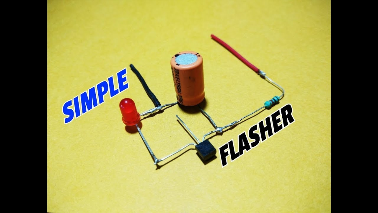 how to make a simple led flasher using one transistor simple led one transistor led flasher circuit diagram [ 1280 x 720 Pixel ]