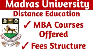 Madras University distance education MBA Courses offered