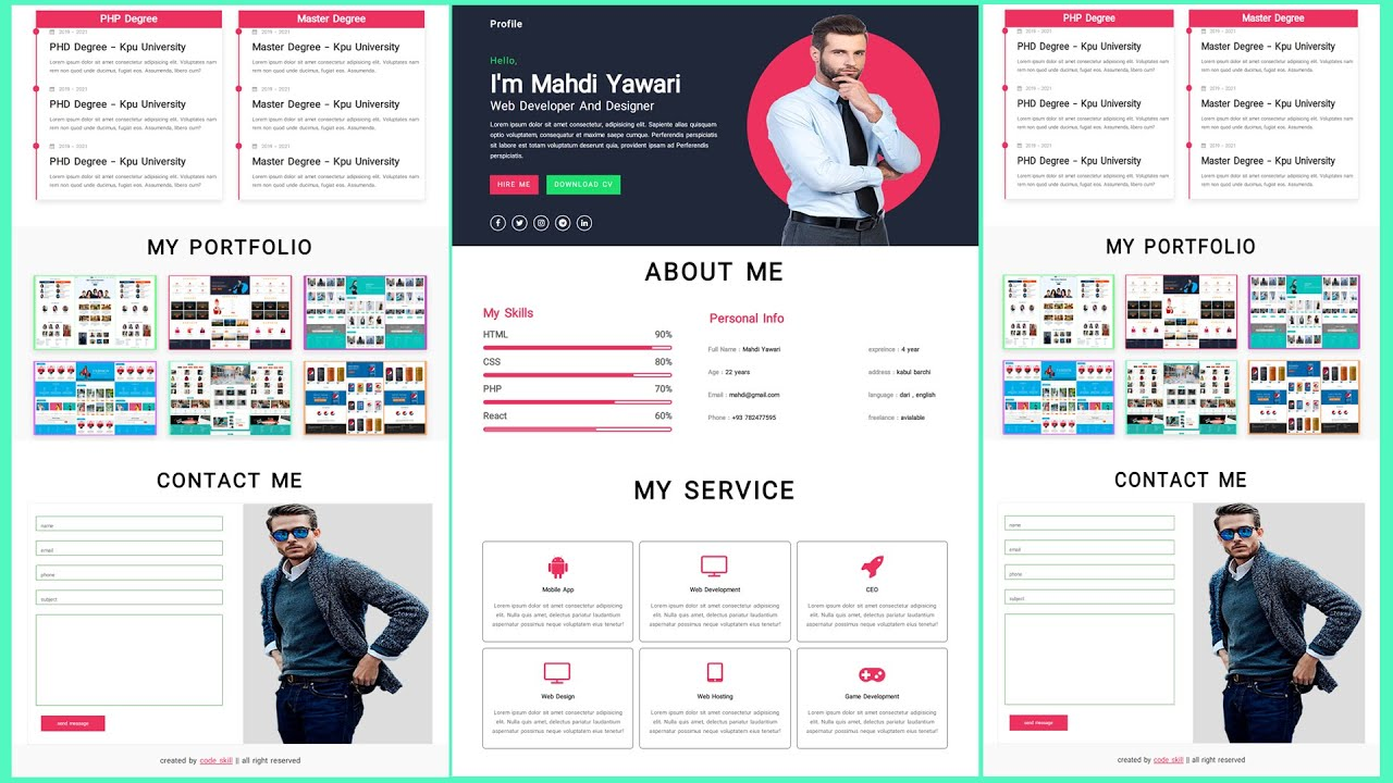 #2 Create A Responsive PERSONAL PORTFOLIO Website Design Using [ HTML CSS JS ] – From Scratch