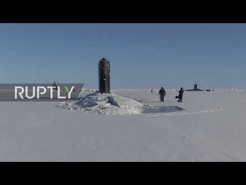 USA: US attack submarine smashes through thick ice to surface in Arctic Ocean