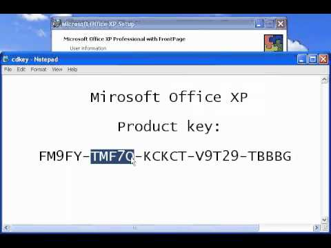 microsoft office xp setup product key