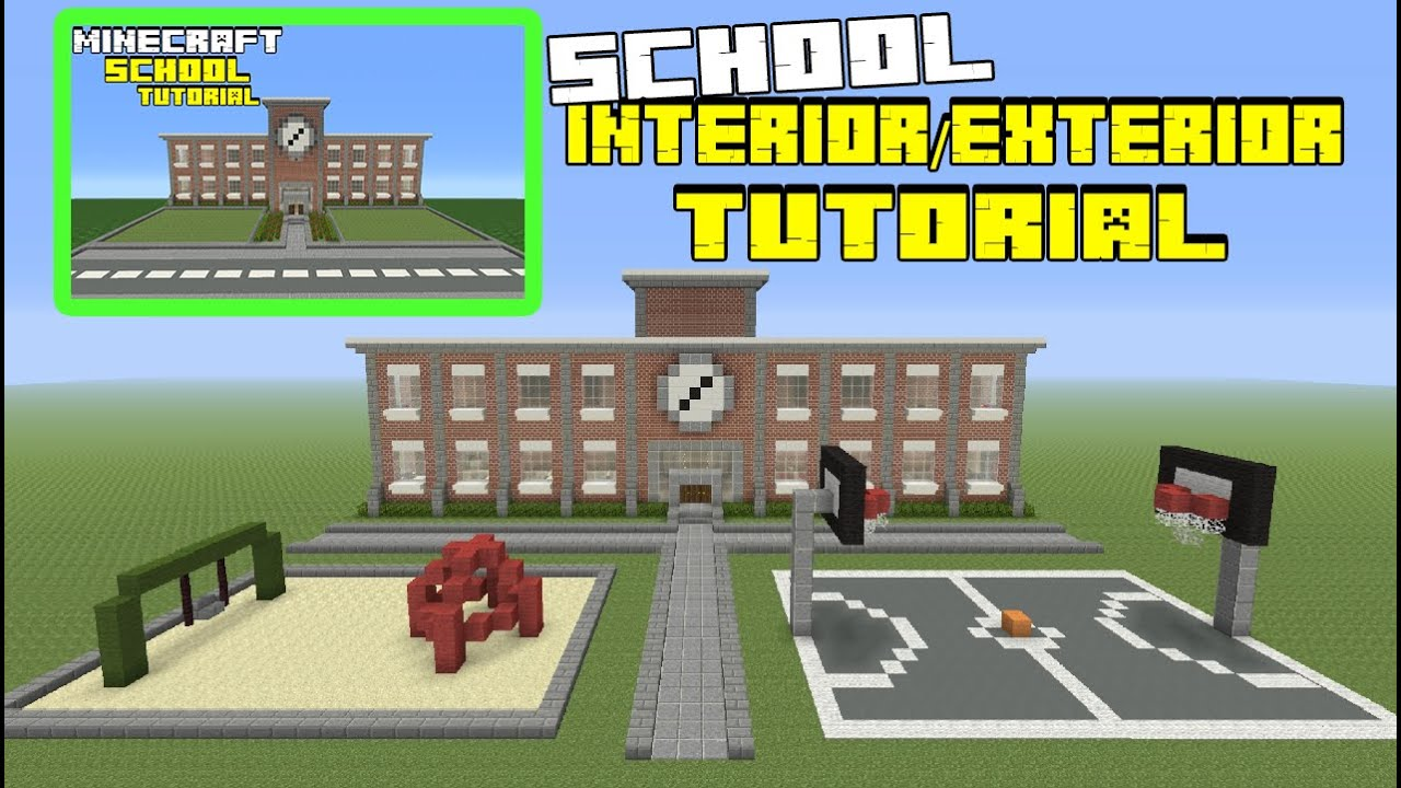 Minecraft tutorial how to make a school interior exterior for Interior wall designs minecraft