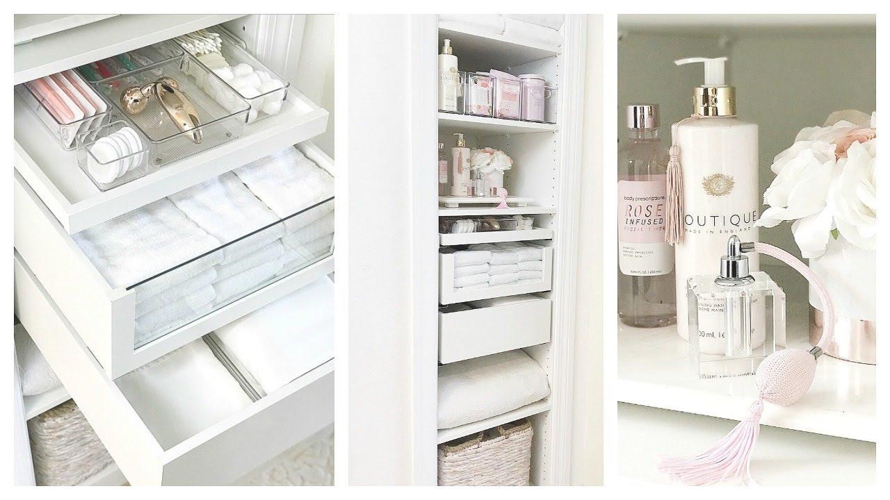 NEW Small Linen Closet Organization w/iDesign   IKEA PAX Hack Built in