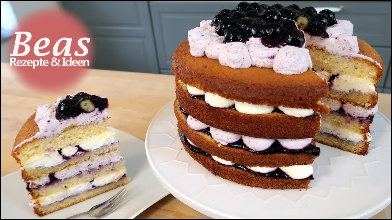naked cake blaubeer sahnetorte rezept wunderkuchen tortenboden backen mit heidelbeeren. Black Bedroom Furniture Sets. Home Design Ideas