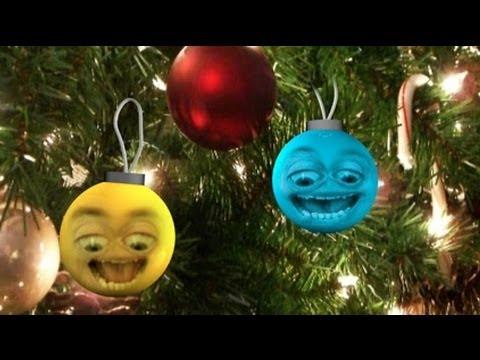 Deux boules s'éclatent, carte joyeux Noël et bonne année, humour