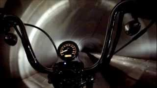 Harley Davidson riding through a storm water drain!!! Slippery and LOUD!!!HD GOPRO!!!