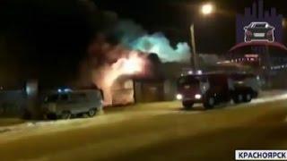 Ночью на рынке КрасТЭЦ в Красноярске произошел крупный пожар (Новости 23.12.16)