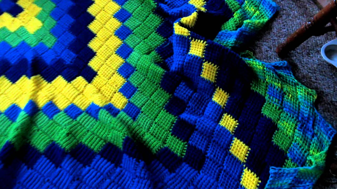 My Entrelac Crochet Blanket - YouTube