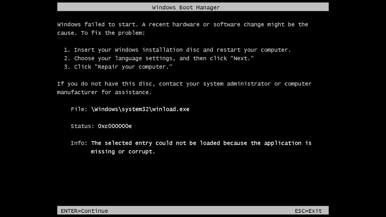 windows resume loader error windows 7