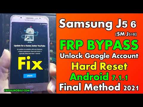 Samsung J5 2016 (SM-J510) FRP Google Lock Bypass 2021 || Fix YouTube Update