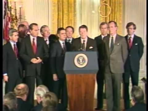 Pres Reagan Signs 1985 Farm Bill w/ Senator Dole attending