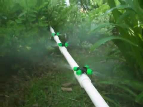Diy mist water system in garden lawn misting youtube solutioingenieria Image collections