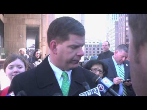 Mayor Walsh raises the Irish flag