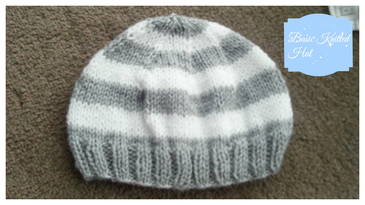 Basic Knitted Baby Hat 3-6 months - YouTube