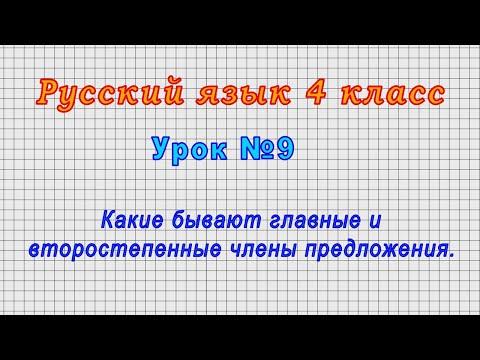 Русский язык 4 класс (Урок№9 - Какие бывают главные и второстепенные члены предложения.)