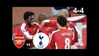 Arsenal vs Tottenham Hotspur 4-4 Goals and Highlights 2008-2009 with English Commentary