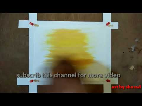 How to make very easy and small landscape painting # oil colour