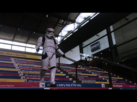 Stormtrooper Falls Down Stairs On The Way To Star Wars Premiere