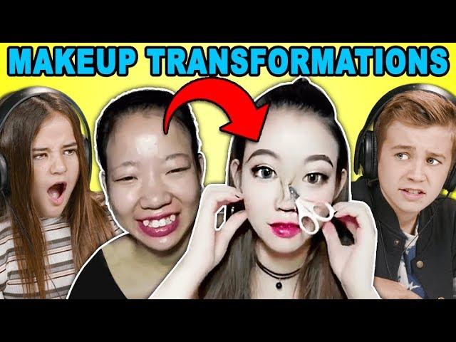 Kids React To Viral Asian Makeup Transformations Compilation