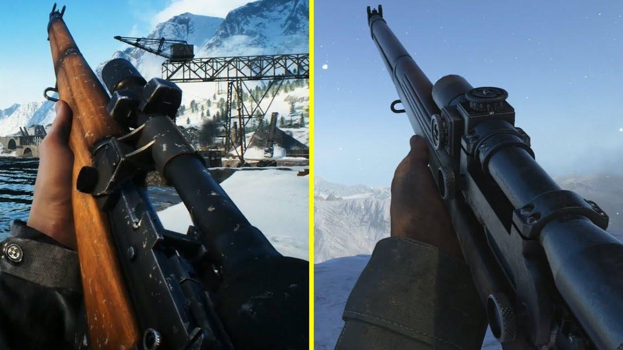 Посмотрите, как отличается оружие в Battlefield 5 и Call of Duty: WWII — видео