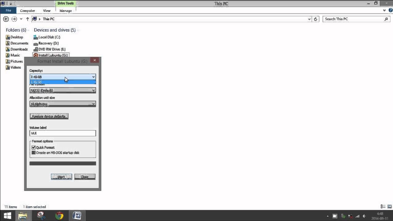 Force delete thumb drive ubuntu