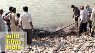 Hindu funeral rites at Chandi ghat of Haridwar