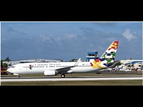 FLYBY, LANDING & WATER CANON SALUTE | CAYMAN AIRWAYS' NEW BOEING 737-800!!