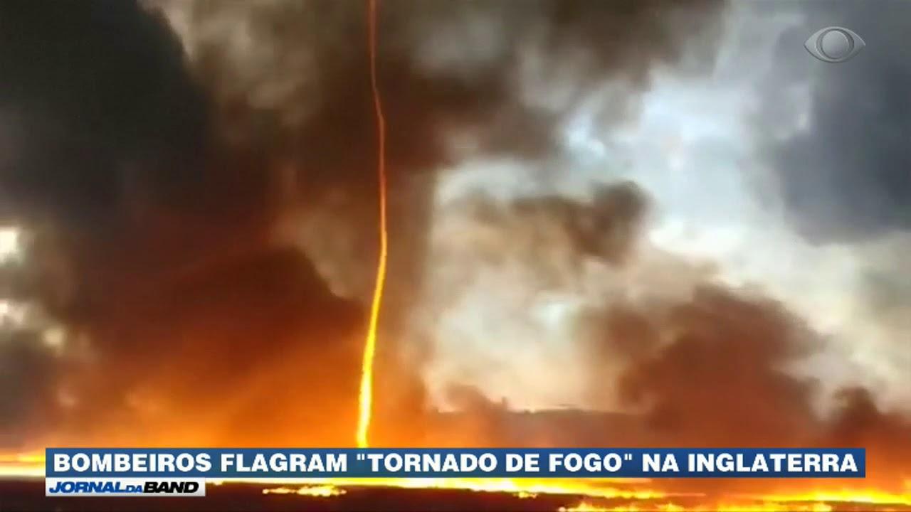 Bombeiros flagram tornado de fogo na Inglaterra