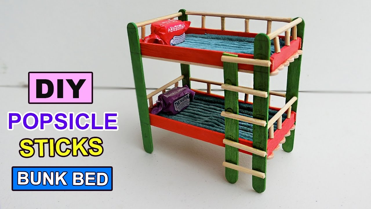 Popsicle stick Crafts Bunk bed toys DIY YouTube