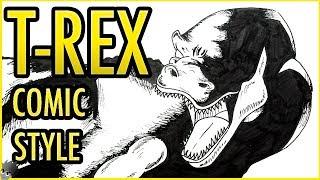 COMO DIBUJAR UN TIRANOSAURIO REX  ESTILO COMIC | HOW TO DRAW A T-REX?