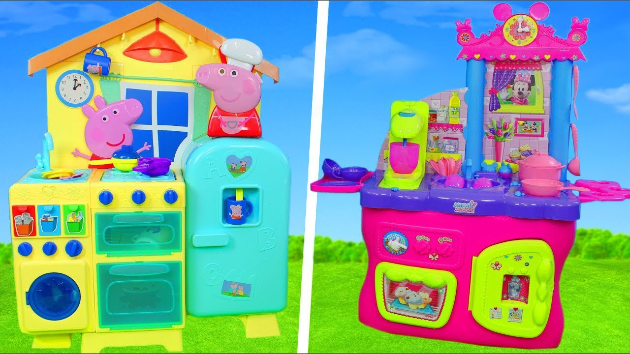 Peppa Pig Minnie Mouse Unboxing Kitchen Toys Refrigerator Cash Register Pretend Play For Kids