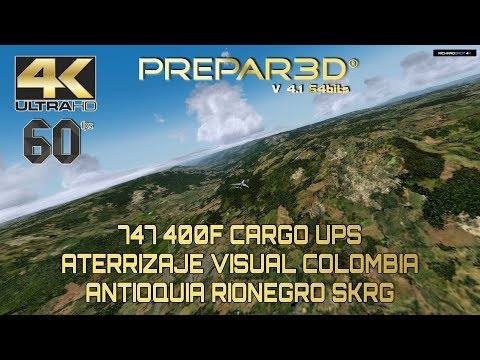 🔴 Visual Approach en Colombia SKRG PMDG 747 400F P3D 4.1 4k 60fps