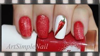 Роспись ногтей акриловыми красками - Маникюр Красный перец | Red Chili Pepper Nail Art(Из этого видео вы узнаете как нарисовать рисунок на ногтях акриловыми красками пошагово (в данном случае..., 2014-10-13T16:50:16.000Z)