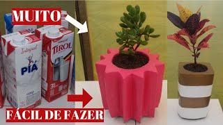 Vaso De Cimento Feito Com Caixa De Leite Reciclável