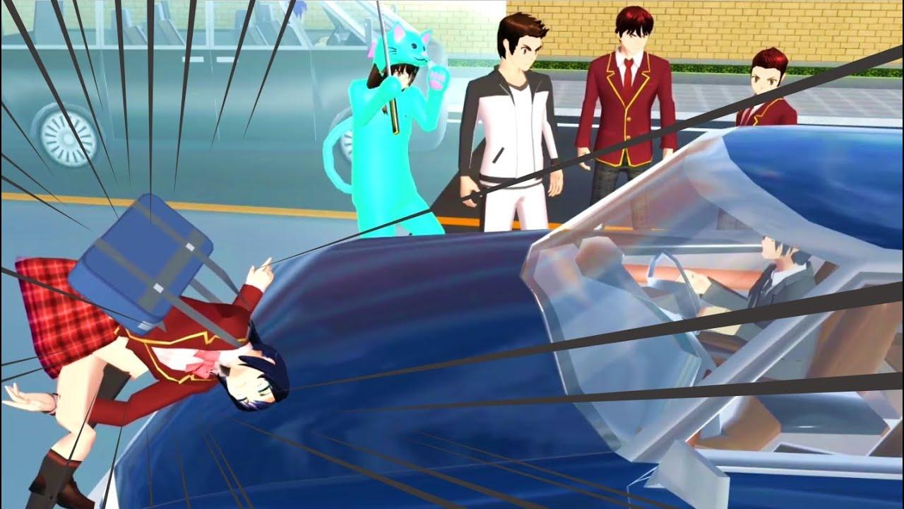 FUNNY EXPERIMENT!!! 50 STUDENTS VS CAR!! | Sakura School Simulator