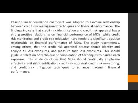 Credit Risk Management and Financial Performance of Microfinance Institutions in Kampala, Uganda JBF